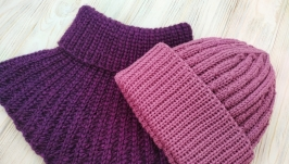 Комплект женский шапка и манишка