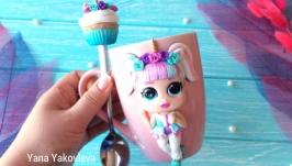 набор кукла LOL чашка и ложечка