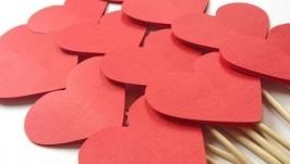 Топпер Сердечки на палочке (красный)