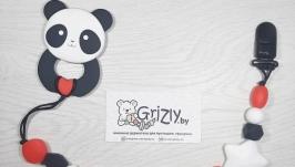 Грызунок Панда с сердцем на именном держателе