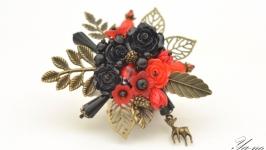 Брошь с цветами и листьями ′На полянке′