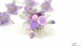 Брошь с цветами и листьями ′Сиреневый закат′