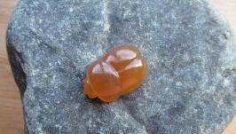 Вставка жук скарабей из арагонита для кулона, резьба по камню.