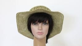 Шляпка ′Зеленый чай′  из натуральной рафии.