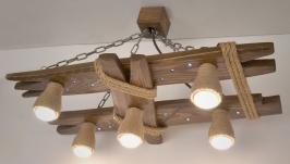 Потолочный светильник из натурального дерева с ночником