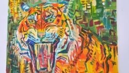 Картина ′Тигр, портрет′, абстракция, дикая природа