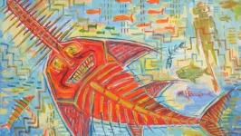 Рыба пила, портрет, акула абстракция
