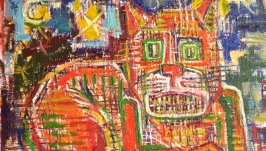 Кот абстракция, картина маслом, абстрактная живопись