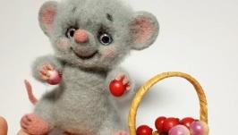 Валяная игрушка Довольный Мышонок