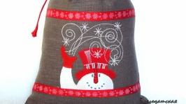Мешочек для подарка Снеговик