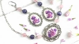 Комплект украшений с розовым кварцем ожерелье чокер и длинные серьги