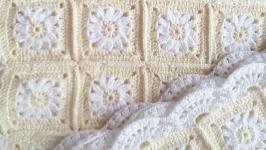 Одеялко-плед ′Ромашки′, вязаный крючком на стежке
