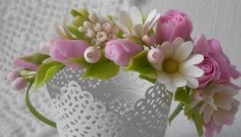 Обідок з трояндами і ромашками