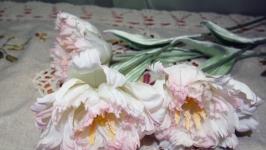 тут изображено Тюльпаны махровые из натурального шелка.