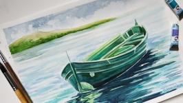 Акварель ′ Човен′ живопис