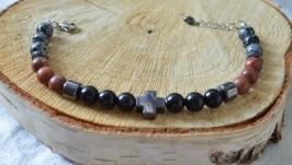Мужской браслет из обсидиана, яшмы и гематита ′Уран′