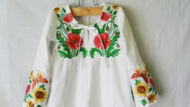 Вышиванка Туника сорочка вышитая для девочки Школьная блузка для девочки