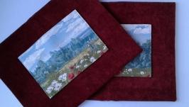 Две наволочки на диванные подушки ′Маковое поле′ гобелен