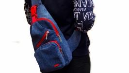 Джинсовый однолямочный рюкзак Канна 2