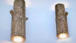 Бра: Набор настенных деревянных светильников, бра из дерева
