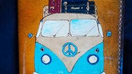 Кожаная обложка для паспорта автобус любви