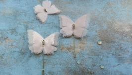 Брошь -булавка Бабочка ( розовая )
