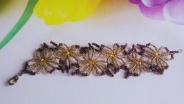 Браслет ′Уичольский цветок′ из бисера, недорогой красивый подарок