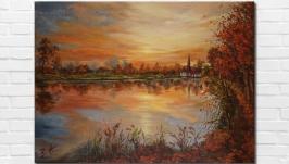 Картина маслом ′Золотая осень′, 30х40 см, холст на подрамнике, масло