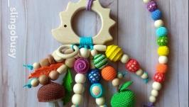 Развивающая игрушка Ёжик для малыша, погремушка грызунок, ручная работа