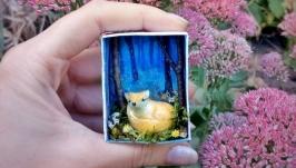 Миниатюра лиса ′РаИ′ мини фигурка лисенок тотем декор подарок
