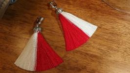 Серьги кисточки white and red