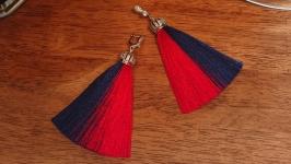 Серьги кисточки blue and red