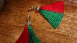 Серьги кисточки green and red