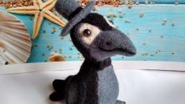 Ворон из шерсти, валяная игрушка