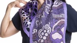 Фиолетовый шарф из шерсти мериноса