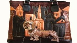Кожаная сумка ′Жесткошерстная такса′