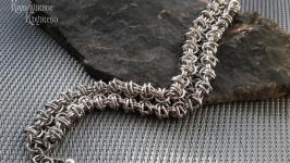 Браслет стальной двусторонний в технике кольчужного плетения