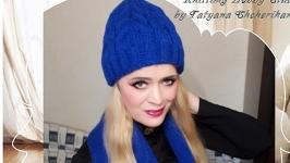Вязаная шапка и шарф из полушерсти.