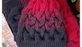 Вязаная шапка и снуд из мериноса и фибры.