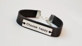 Кожаный браслет ′Choose happy′