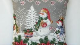 Подушка новогодняя Снеговики