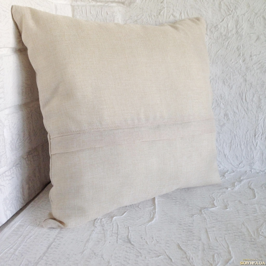 pictured here Pillow. Decorative. Embroidered with ribbons.
