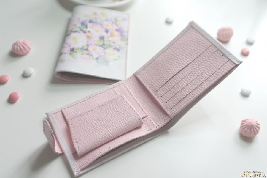 Комплект кошелёк и обложка натуральная кожа