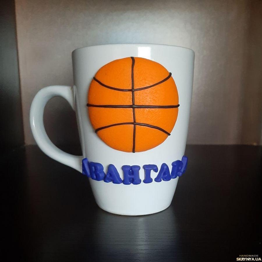 тут изображено Сувенирная чашка в подарок тренеру спортсмену фанату баскетбола