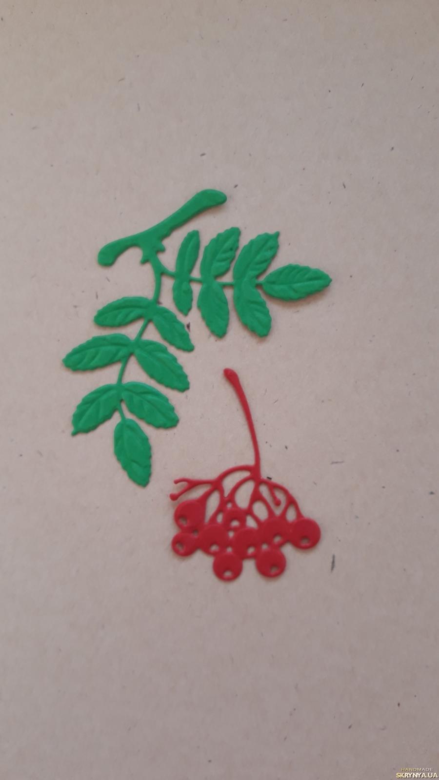 тут изображено Вырубка для скрапбукинга Рябина малая, декор для скрапбукинга