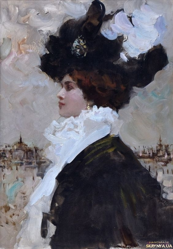 pictured here Profile of an elegant lady in a black hat