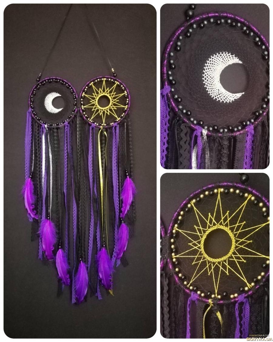 тут изображено Ловец снов настенное панно ′Солнце и Луна′.