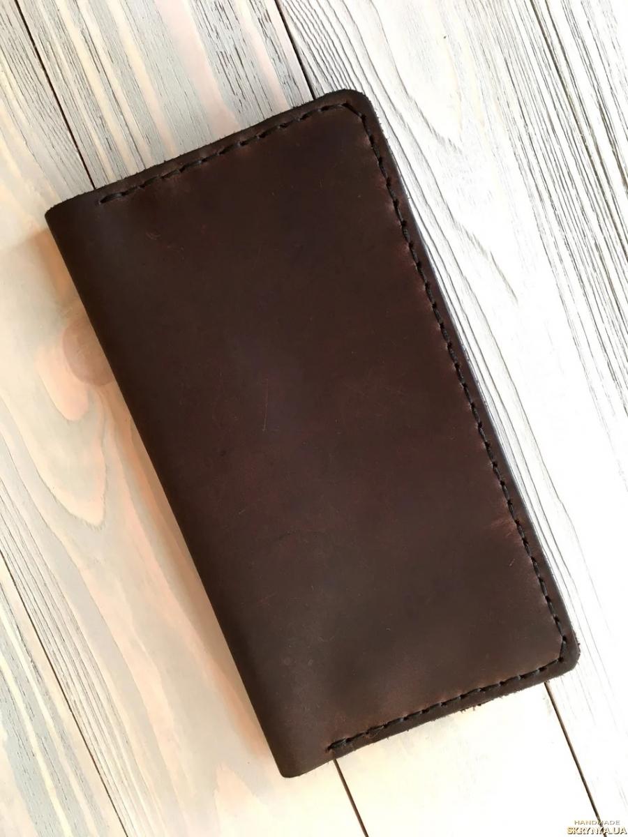 тут изображено Мужское кожаное портмоне Classic коричневый (тревел-кейс) (02)