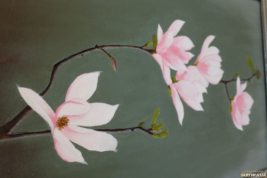 pictured here Oil painting of flowers Magnolia