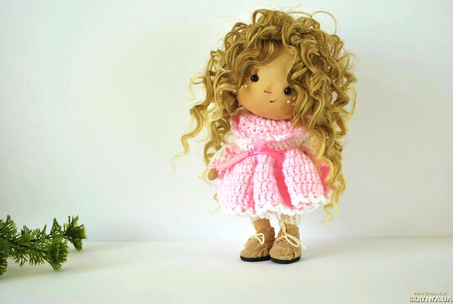 pictured here OOAK art doll in pink Textile doll Fabric doll Soft toy